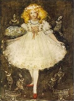 The Red Shoes  by Katharine Cameron; This illustration came from:    Chisholm, Louey. The Enchanted Land: Tales Told Again. Katharine Cameron, illustrator. London: TC & EC Jack, 1909.