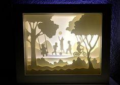 The Childrenhood, paper cut light box, handmade