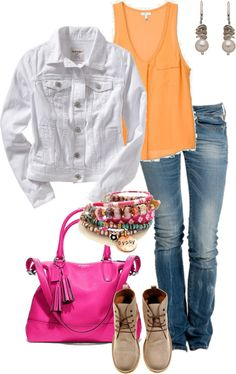 """White Denim Jacket"" by simple-wardrobe ❤ liked on Polyvore"