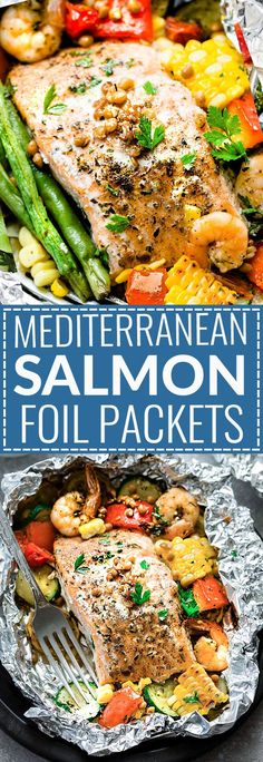 This recipe for Mediterranean Salmon Foil Packets with Lentils is a quick, healthy and tasty 30 minute meal. Best of all, they can be baked or grilled (using parchment if you prefer) with your favorite summer veggies including zucchini, yellow squash, red