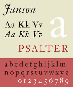 Font sample specimen: Janson. Selection: www.rotterdam-vormgeving.nl