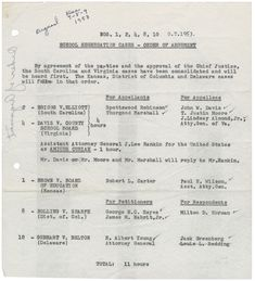 Order of the cases for the Brown hearings.