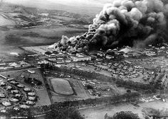 Pearl Harbor Attack, 7 December 1941 Planes and hangars burning at Wheeler Army Air Field, Oahu, soon after it was attacked in the morning of 7 December as seen from a Japanese Navy plane.Donation of Theodore Hutton, Photograph. Pearl Harbor 1941, Pearl Harbor Day, Pearl Harbor Attack, Ben Affleck, Remember Pearl Harbor, Imperial Japanese Navy, Military Pictures, Military History, World History