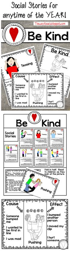 Social Stories:  Perfect addition to MLK or Valentines Unit.  Writing and Cause Effect.  Helping kids think before they act.