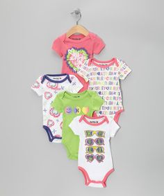 Take a look at this White & Pink Bodysuit Set by Hurley on #zulily today!