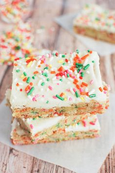 Cake Batter Blondie Bars - Fake Ginger