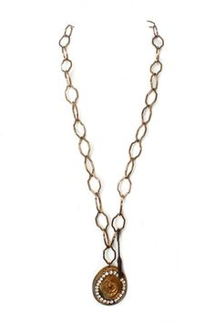 Lucy's Inspired Antique Brass Necklace with Baroque & Crystal Disk – DejaVu