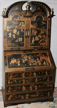 072204: CHINOISERIE DROP FRONT DESK, RED INTERIOR, : Lot 72204
