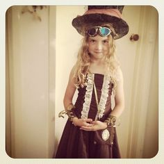 Ms S all steampunked up! Massive thanks to the amazing @ladypenelopearielponytail for the fabulous outfit xox #steampunk #fancydress #victorian #kids - @oceanmoonfire- #webstagram