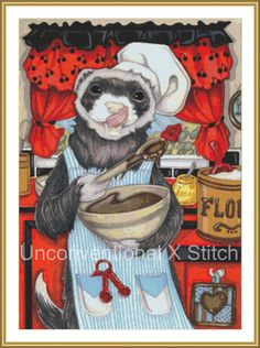 Ferret cooking cross stitch pattern - Chef Ferret - modern counted cross stitch - Licensed Natalie Ewert by UnconventionalX on Etsy