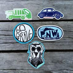 Rad stickers that you can't find anywhere else! Designed by us in Washington, from original block prints and printed in Oregon, these vinyl stickers are made to last. PNW measures 5 by 3 inches, diecu