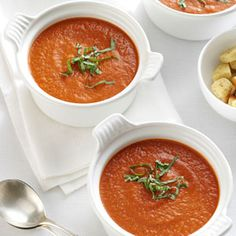 Roasted Tomato Soup with Fresh Basil Recipe- Recipes Roasting really brings out the flavor of the tomatoes in this wonderful soup. It has a slightly chunky texture that indicates it's fresh and homemade.Marie Forte, Raritan, New Jersey Roast Tomato Soup Recipe, Roasted Tomato Soup, Tomato Soup Recipes, Healthy Soup Recipes, Roasted Tomatoes, Cooking Recipes, Healthy Meals, Tomato Pesto, Amish Recipes