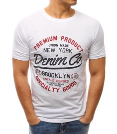 Pánske biele tričko s potlačou Denim T Shirt, Urban Outfits, My Stamp, Swagg, Cool T Shirts, Graphic Tees, Shirt Designs, Short Sleeves, Menswear