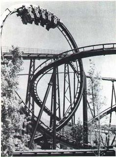 Shockwave - Magic Mountain, CA...stand up looping coaster. Rode this as a teen back in the 80's