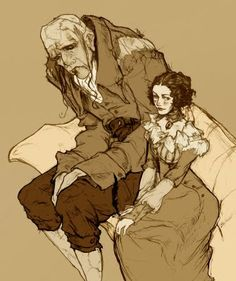 Mary Shelley and her Creature, by Abigail Larson.