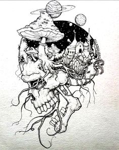 Trendy Drawing S Creepy Sketches, Badass Drawings, Demon Drawings, Dark Art Drawings, Art Drawings Sketches, Drawings Of Skulls, Skull Sketch, Psychedelic Drawings, Tattoo Und Piercing