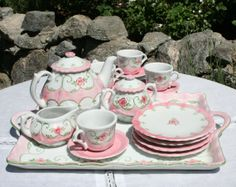 Children's Tea Set hand painted with pink roses.  Like new condition in original box.