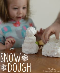 Snow Dough Recipe - great sensory play for toddlers and kids!  Made with only 3 ingredients!   ModernMommyhood.com  Christmas Holiday DIY Craft #Christmas #Holiday #DIY #craft #ChristmasSerendipity #HolidayMagicSerendipity