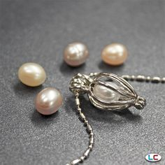 Interchangeable Multi-Color Freshwater Pearl Basket Pendant with Chain | Liquidation Channel