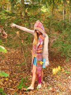 Hand Woven Hooded Scarf / Saori Style Funky by PineSpiritWoolworks