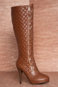 Strutting Style Tall Quilted Lace Up Knee High Stiletto Boots KATY-01 - Camel from Reneeze at Lucky 21