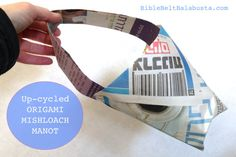 Mishloach Manot as up-cycled origami. Easy, fast and free DIY for all ages. #Purim