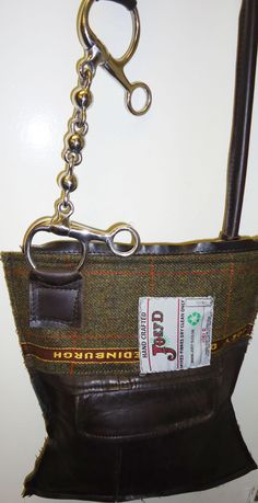 Joey D Horse Bit Leather and Tweed Bag