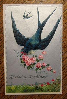 Flying Swallow Bird Pink Roses Embossed Birthday--Antique Vintage Postcard! #Birthday