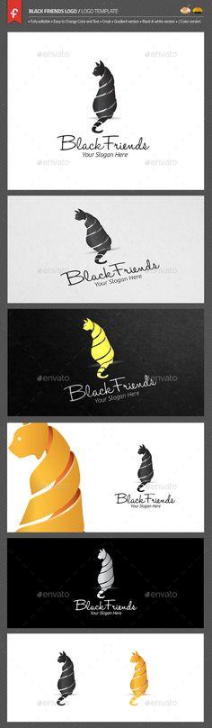 Black Friends Logo, animal, application, black, black cat, business, cat, clean, clothing, club, community, company, cool, corporation, creative, design, dog, forum, game, internet, kitten, logo, modern, paw, pet, pet shop, pets, professional, simple, studio, website