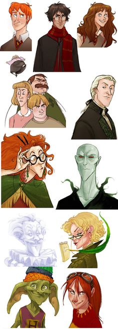Harry Potter as Disney Characters - drawn by Heather Campbell, aka Makani , for The Leaky Cauldron