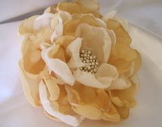 Ivory and Golden Chiffon Wedding Flower Hair by theraggedyrose, $23.95