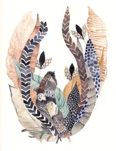 Feather Bundle Original watercolor painting. Pheasant, helmeted guinea fowl, wild turkey, and owls feathers make up this collection.