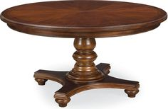 """Round Dining Table  Round tables have a way of bringing people together, inviting everyone into the discussion. The Round Dining Table has just such an engaging appeal. Practically speaking, the classic turned pedestal allows everyone plenty of leg room, while the delicate rosewood and maple inlay and mahogany veneers are good looking enough for your best company. Seats 4, or expand it with the 24"""" leaf to seat 6."""