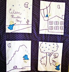 Shop for on Etsy, the place to express your creativity through the buying and selling of handmade and vintage goods. Purple Crayon, Quilted Wall Hangings, 4 Year Olds, Baby Quilts, The Book, Childrens Books, Hand Embroidery, Birth, Applique