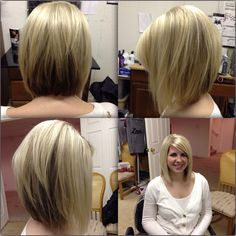 Layered angled razor cut bob with platinum blonde hilites more