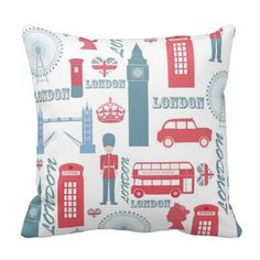 """Need pillows that can perfectly match your couch? Then Cool trendy vintage London landmark illustrations throw Pillows from zazzle will make your neighbours to envy you! Sizes available: 16""""x16"""" 20""""x20"""" 13""""x21"""" materials: polyester,  cotton what i love most about this custom throw pillow cool colour, soft and supple it is wrinkle free has a  hidden zipper enclosure and you can machine wash. To customize the throw pillow click on the image now. #pillow #zazzle #couch"""