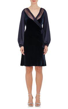 Alberta Ferretti Velvet Long-Sleeve Dress | Barneys New York