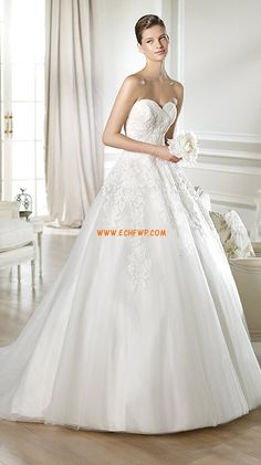 Chapel Train Sweetheart Summer Wedding Dresses 2014
