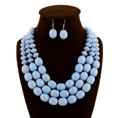 2015 New Arrival Light Blue Beaded Jewelry Set