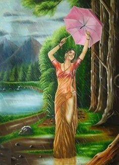 creas monde merveilleux - Page 2 Indian Women Painting, Indian Art Paintings, Oil Paintings, Abstract Paintings, Art And Illustration, Cat Illustrations, Sexy Painting, Watercolor Painting, Painting Tips