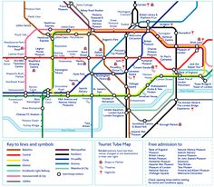 A London tube map showing which stops to use for each of London's attractions.