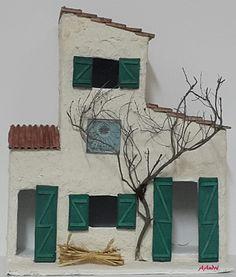 Maison en carton pour la cr che de no l cartonnage carton ondule pinterest - Fabrication de maison pour creche de noel ...