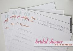DIY, Do It Yourself, Bridal Shower Recipe Cards, Bridal Shower, Recipe, Cards, Sticker, make, print | CHECK OUT MORE IDEAS AT WEDDINGPINS.NET | #diyweddings