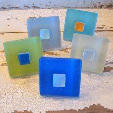 Cabinet Knob Sea Glass Tile Drawer Pull Beach Decor