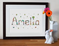 these bespoke name prints make interesting and inspirational gifts for new-borns or young children.   you can order any name you like - any length - and no two letters will be the same in each name.  each unframed print is made from my unique animal alphabet which began as an ink and watercolour painting and the letters can vary from name to name.  the prints are very high quality, digitally printed on  310gsm white watercolour paper and they have the look of ink and watercolour. I ...