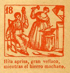 """Gravat núm. 18 del auca """"El Mundo al revés"""" (1858)  de la Biblioteca del Rafael Gayano Lluch.  Reeditat l'any 1946 per la Falla Joaquín Costa. CA 28.16"""