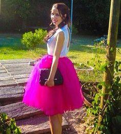 On Sale! 7 Layers Tulle Skirt High Waisted Midi Skirts Womens Tutu Pleated Maxi Skirt Faldas Saias Plus Size YFS060165