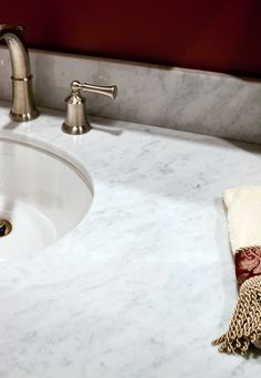 Bath vanity in Bianco Carrara marble with Eased edges. Carrara Marble, Bath Vanities, Baths, Countertops, Vanity, Traditional, Home Decor, Counter Tops, Painted Makeup Vanity