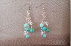 Turquois Magnesite Beads, Blue Magnesite Beads, Blue Jade Beads, Light Green Jade Beads, Clear Crystals Dangle Earrings, stocking stuffer by MamaPajamaJan on Etsy