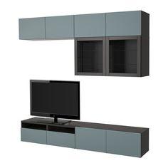 IKEA - BESTÅ TV storage combination/glass doors black-brown, Valviken